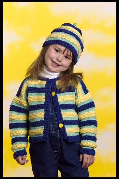 Kids Striped Cardigan and Stocking Hat Pattern (Knit)