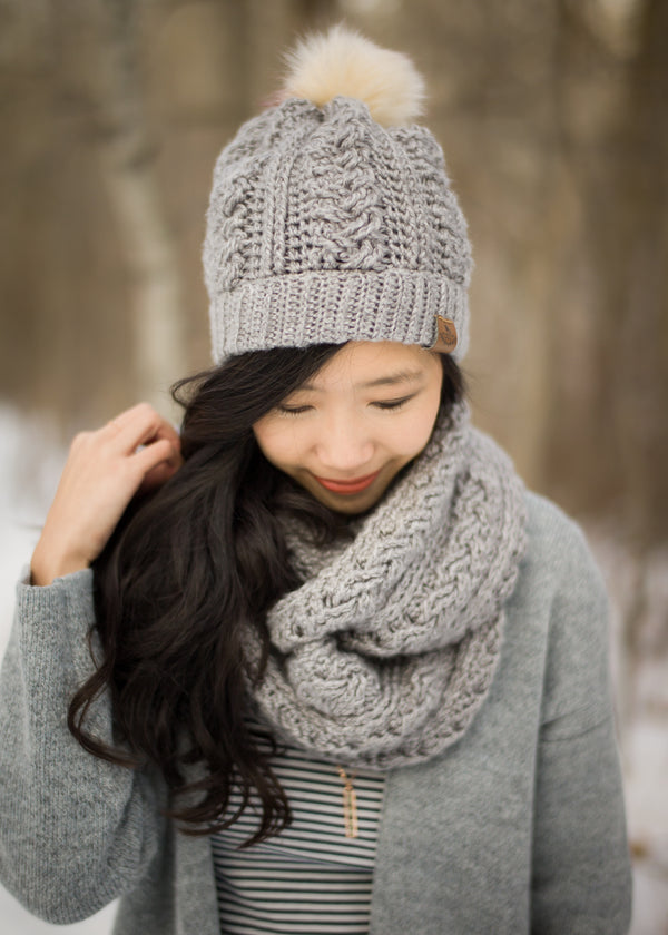 Crochet Kit - Braided Cabled Cowl and Beanie