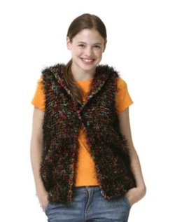 Hoodie Fun Fur and Lion Boucle Pattern (Knit)