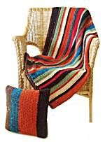 Crochet Stripe Afghan And Pillows