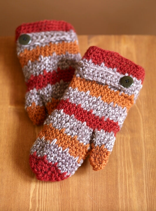 Spray Of Color Pumpkin Mittens (Crochet)