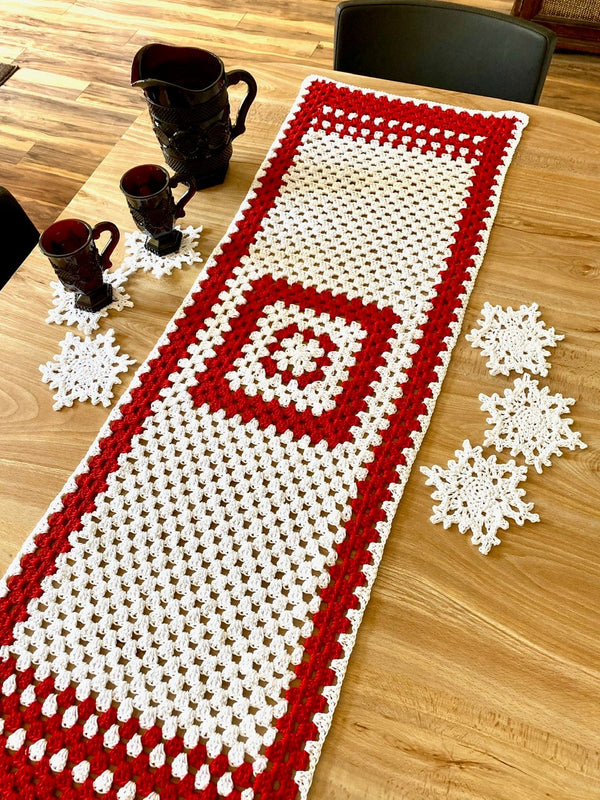 Crochet Kit - Holiday Table Runner & Snowflake Coaster Set