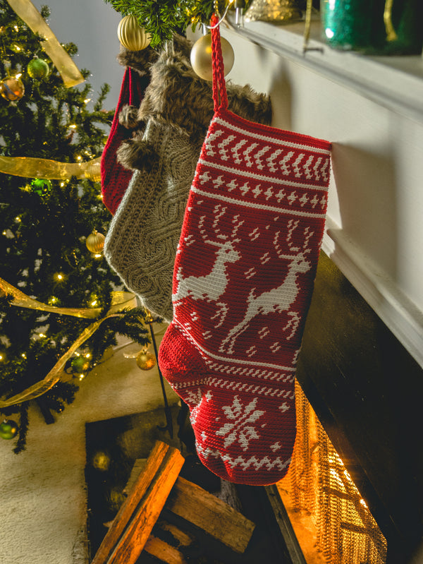 Crochet Kit - On Prancer Christmas Stocking