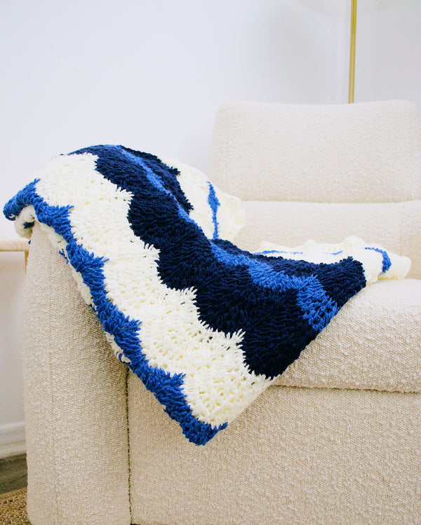 Crochet Kit - Tunisian Bubble Chevron Afghan