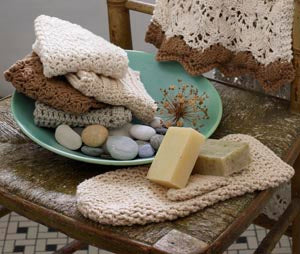 Bath Collection - Bark Sedge Stitch Washcloth (Crochet)