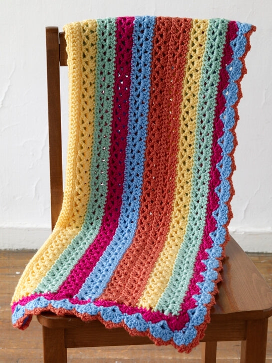 Bright Stripes Baby Afghan Pattern (Crochet)