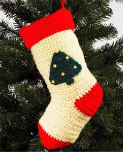 Christmas Tree Christmas Stocking (Crochet)