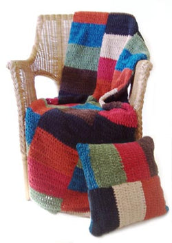 Color Block Afghan and Pillow (Crochet)