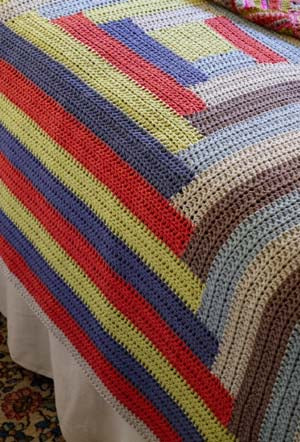 Crochet Log Cabin Afghan (Crochet)