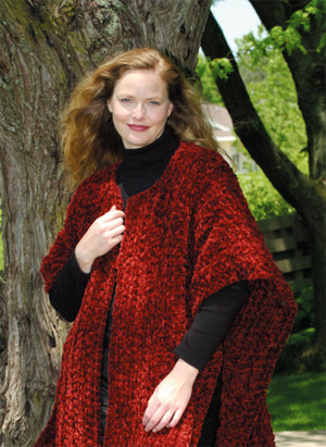 Crocheted Chenille Thick and Quick Wrap Pattern (Crochet)
