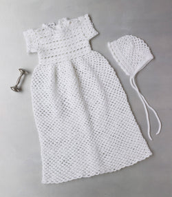 Crocheted Christening Gown And Bonnet Pattern