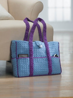 Eight -Pocket Two-Tone Carryall Tote (Crochet)