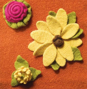 Felted Floral Trio Pattern (Crochet)