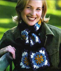 Granny Square Floral Scarf Pattern (Crochet)