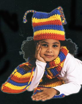 Primary Stripes Childs Hat and Scarf Pattern (Crochet)