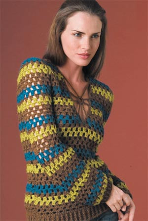 Retro Striped Pullover Pattern (Crochet)