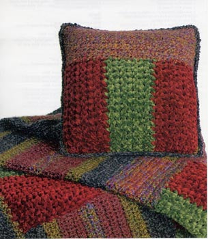 Striped Throw and Pillow Pattern (Crochet)