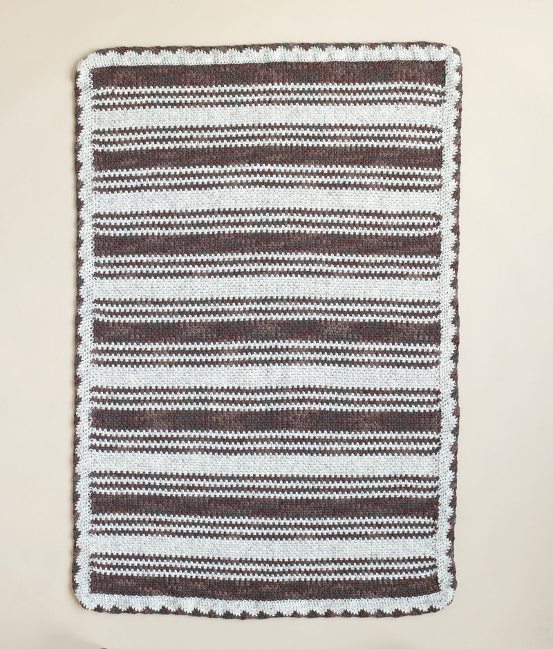 Striped Two Color Crocheted Afghan Pattern (Crochet)