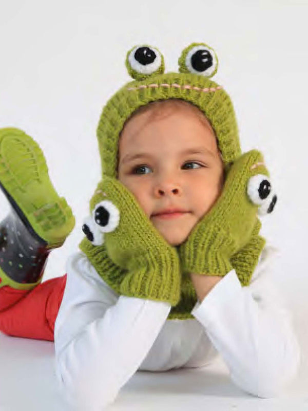 Funky Frog Hat And Mittens Pattern (Knit-Crochet)