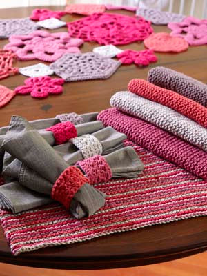 Knit Placemats and Crochet Napkin Rings (Knit-Crochet)