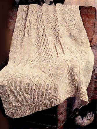Aran Knit Sampler Afghan Pattern (Knit)