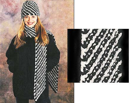 Bias Stripe Hat & Scarf (Knit)