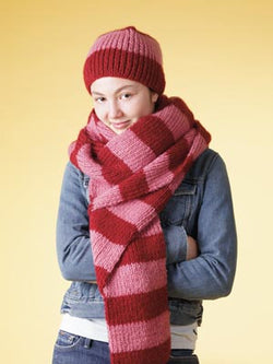Bold Stripe Beanie and Scarf Set Pattern (Knit)