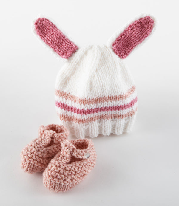 Bunny Hat and Booties Pattern (Knit)
