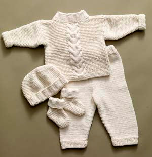 Cabled Baby Set Pattern (Knit)