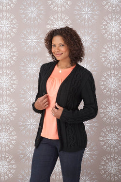 Cabled Womens Cardigan Pattern (Knit)