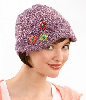 Cap with Little Beaded Flowers Pattern (Knit)