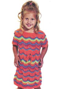 Girls Rainbow Sherbet Dress Pattern (Knit)