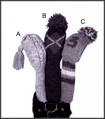 Golf Club Covers Cabled Version Pattern Knit Lion Brand Yarn