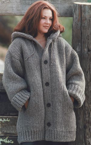 Hand-Knit Danbury Hooded Sweater Jacket
