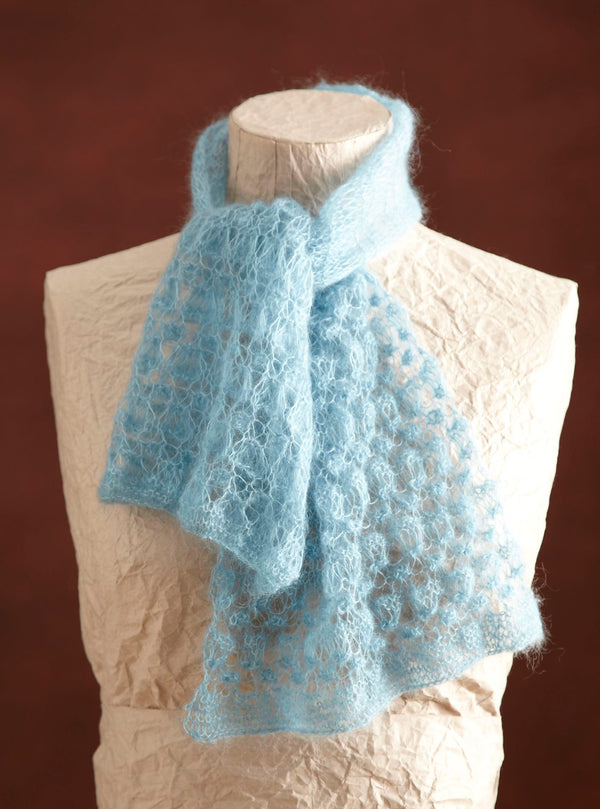 Hazy Blue Lace Scarf Pattern (Knit)