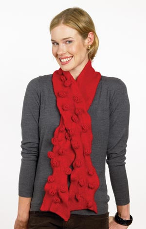 Im Forever Blowing Bobbles Felted Scarf Pattern (Knit)