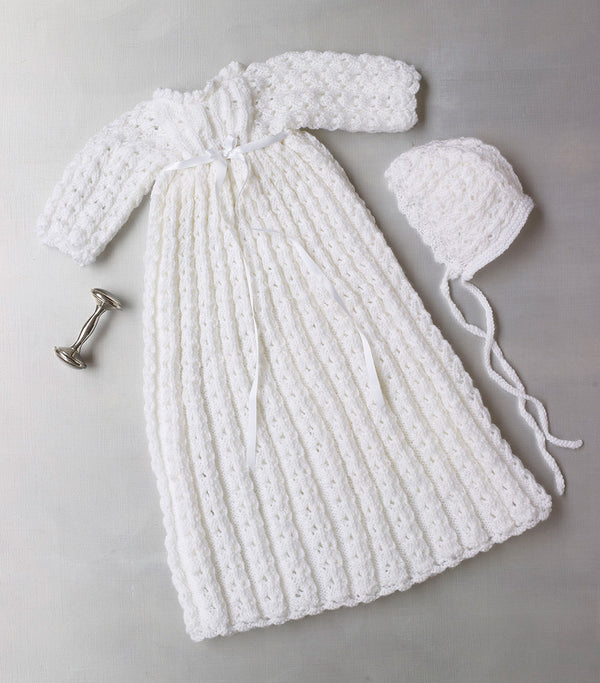 Knit Christening Gown And Bonnet Pattern