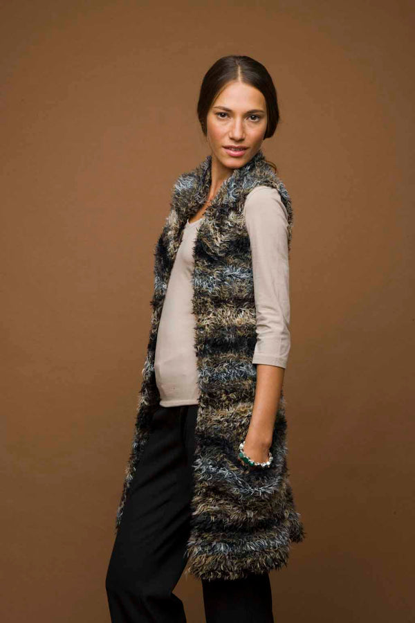 Knit Long Fuzzy Vest Pattern (Knit)