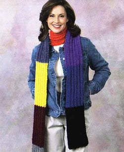 Knit Striped Scarf Pattern (Knit)
