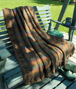 Knitted Leafy Border Afghan