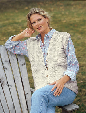 Knitted Long Patchwork Textured Vest Pattern (Knit)