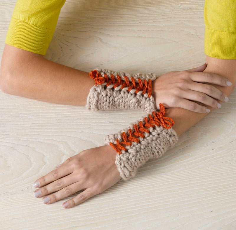 Laced Up Wristers Pattern (Knit)