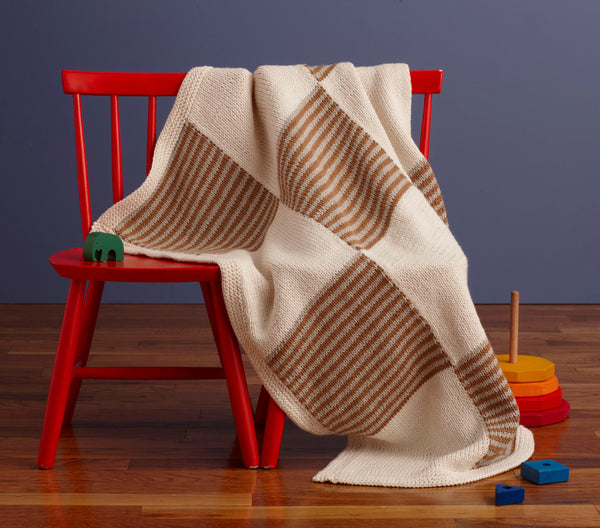 Patchwork Stripes Baby Blanket Pattern (Knit)