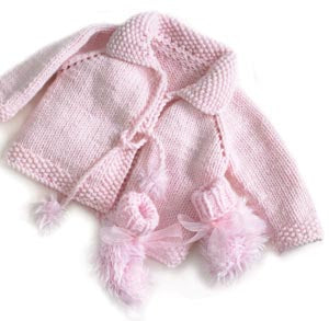 Pretty in Pink Knit Jacket and Booties Pattern (Knit)