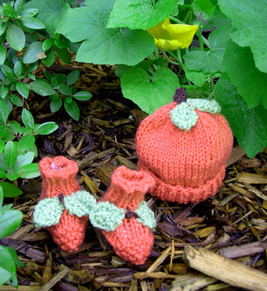 Pumpkin Hat and Booties Set Pattern (Knit)