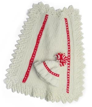 Queen of Hearts lace-edged Newborn Blanket (Knit)