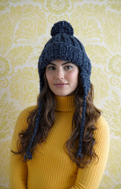 Ribbed Earflap Hat (Knit)