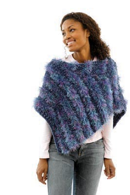 Sheared Look Knit Poncho Pattern (Knit)