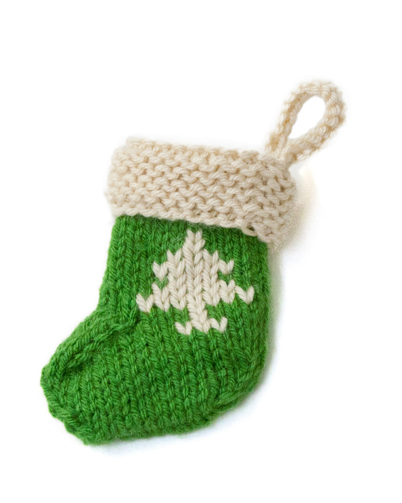 Stocking Ornament With Tree (Knit)