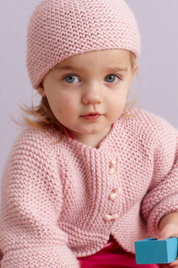 Strawberry Pink Sideways Cardigan And Hat Pattern (Knit)